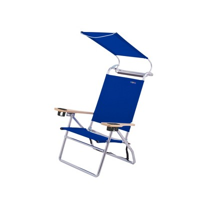 Copa Big Tycoon 4 Position Portable Lightweight Folding Aluminum Beach Lounge Chair with Canopy, Blue