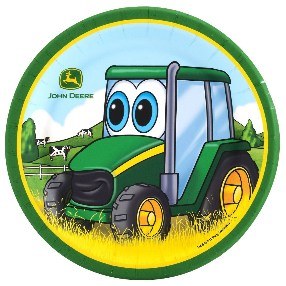 John Deere 7 8ct Johnny Tractor Dessert Plates, Multi-Colored