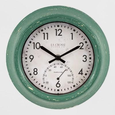 9  Indoor/Outdoor Clock With Temperature Green - La Crosse Technology