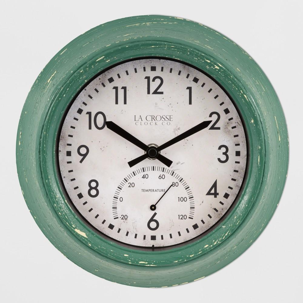 Image of 9 Indoor/Outdoor Clock With Temperature Green - La Crosse Technology