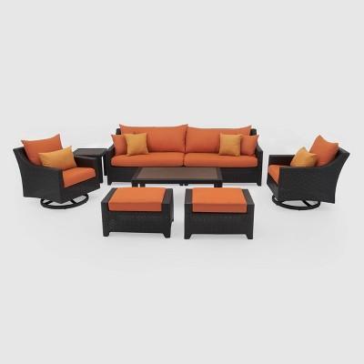 Deco 7pc Sofa & Motion Club Chair Set - Orange - RST Brands
