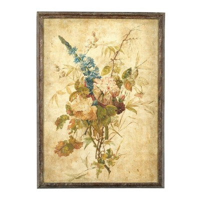 """17.5"""" x 24.5"""" Wood Framed Wall Canvas with Vintage Reproduction Flower Print - 3R Studios"""