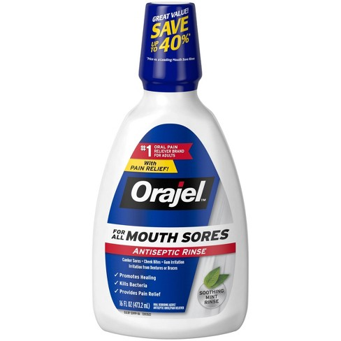 Orajel Mouth Sores Antiseptic Rinse - 16 fl oz - image 1 of 4