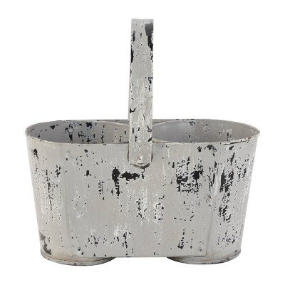 Large Distressed Novelty Farmhouse Style Metal Planter with Handle and 2 Pots White - Olivia & May