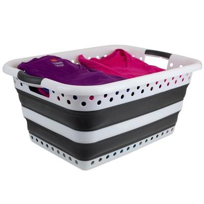 Home Basics Collapsible Laundry Basket, Grey