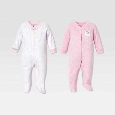 Lamaze Baby Girls' Organic Cotton 2pk Sleep 'N Play - Pink 9M