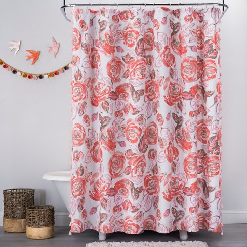 Rose Print Shower Curtain Disco Brown
