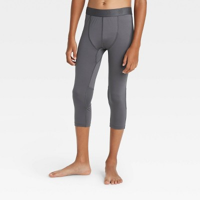 Boys' 3/4 Fitted Performance Tights - All in Motion™ Gray S