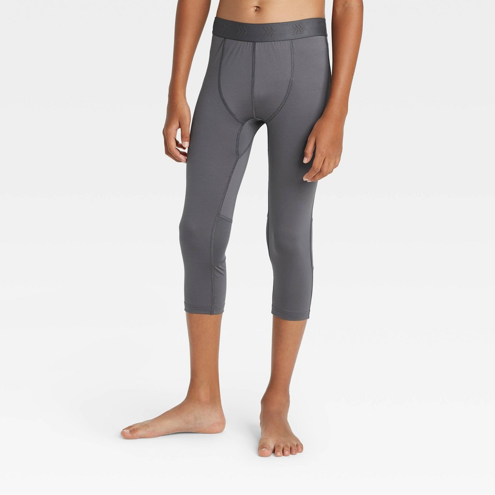 Image of Boys' 3/4 Fitted Performance Tights - All in Motion Gray L, Boy's, Size: Large