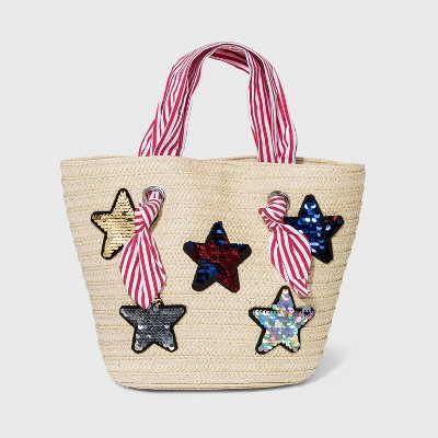 Girls' Paper Straw Tote with Sequin Star Handbag - Cat & Jack™ Yellow