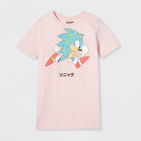 1f627eb3c23 Men s Short Sleeve Sonic The Hedgehog Crew T-Shirt - Pink   Target