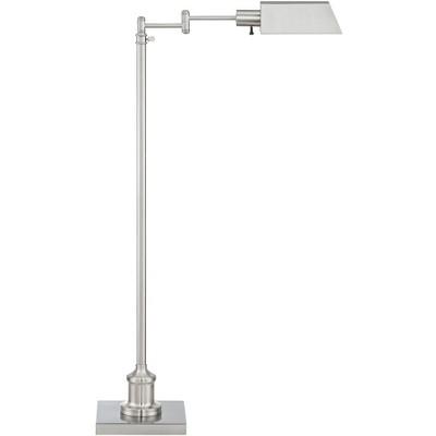 Regency Hill Modern Pharmacy Floor Lamp Adjustable Swing Arm Brushed Nickel Metal for Living Room Reading Bedroom Office