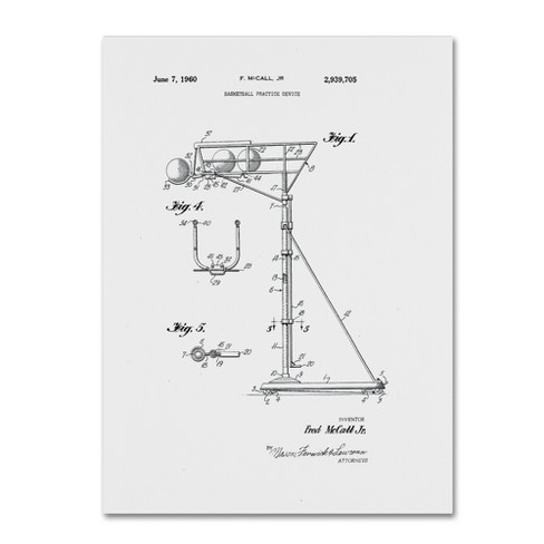 "Claire Doherty Practice Device Patent 1960 Part 1 White Canvas Art 18""24"" - Trademark Fine Art - image 1 of 2"