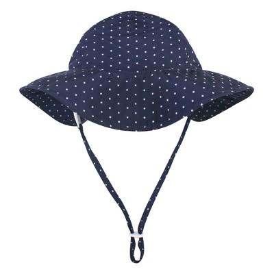 Hudson Baby Infant and Toddler Girl Sun Protection Hat, Navy Blue Dot