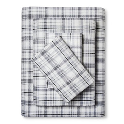 Queen Flannel Sheet Set Plaid Gray - Eddie Bauer