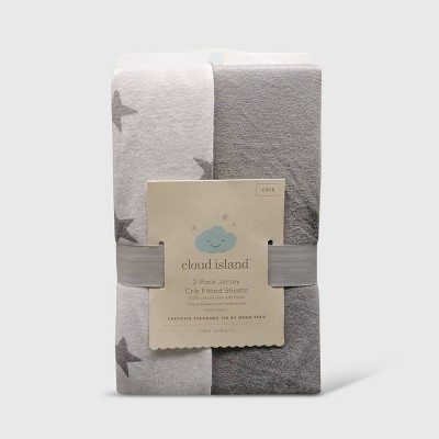Fitted Crib Jersey Sheet - Gray & Scatter Star - Cloud Island™ 2pk