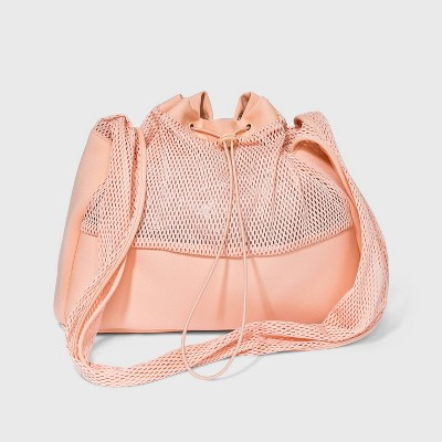 Mesh Sling Elastic Band Hobo Handbag - Shade & Shore™ Pink