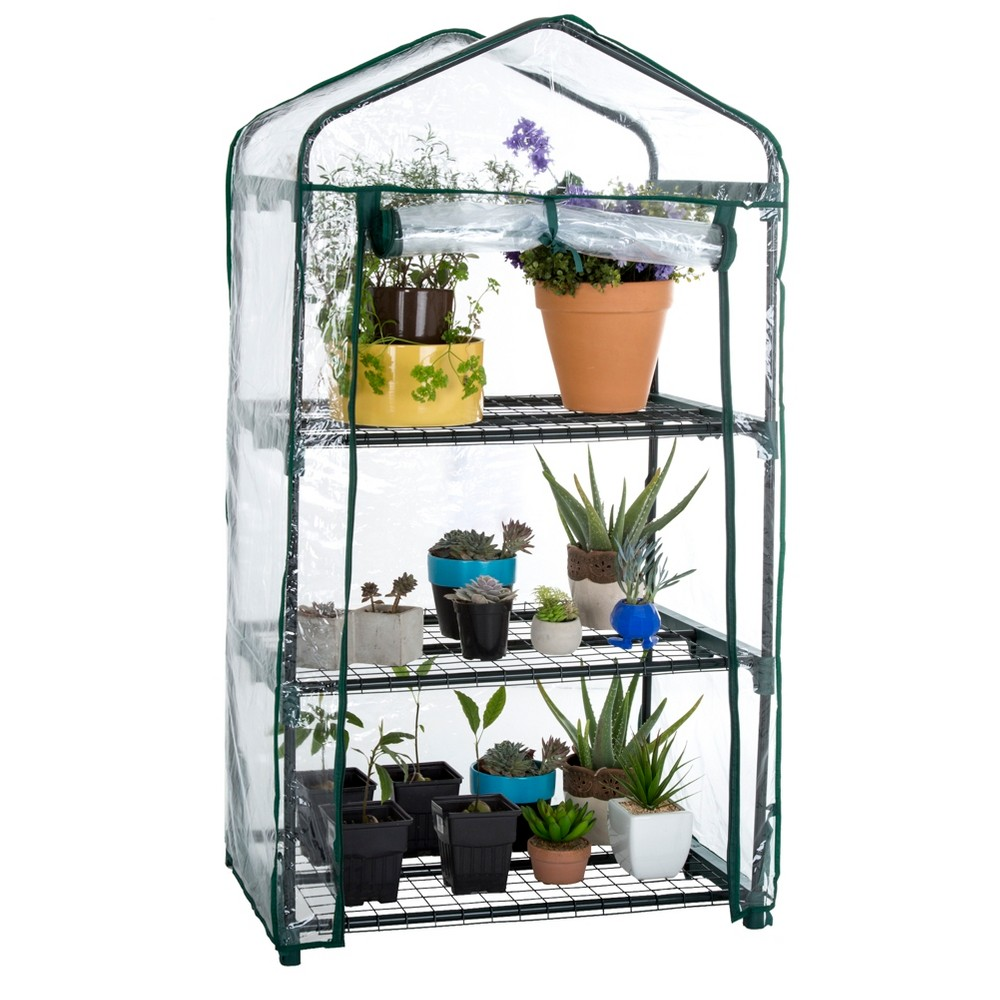 3 Tier Mini Greenhouse with 3 Shelves - 27.5X19X50- Green - Pure Garden
