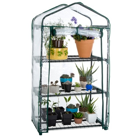 "3 Tier Mini Greenhouse with 3 Shelves - 27.5""X19""X50""- Green - Pure Garden - image 1 of 8"