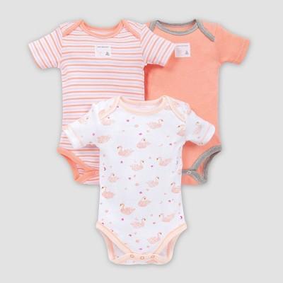 Burt's Bees Baby® Baby Girls' 3pk Graceful Swan Bodysuit Set - White 12M