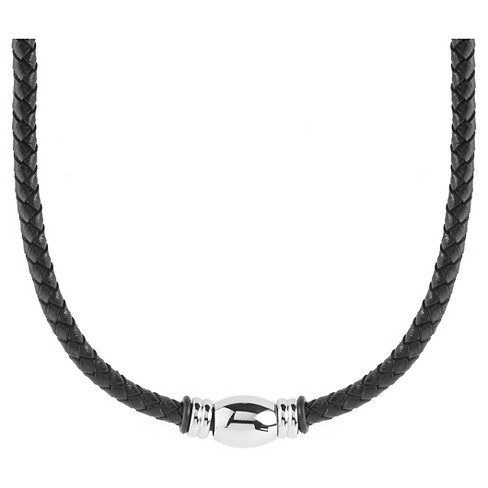 Men's West Coast Jewelry Stainless Steel Beaded Black Braided Leather Necklace - image 1 of 3