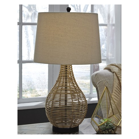 Erwin Rattan Table Lamp Brown Lamp Only Signature Design By