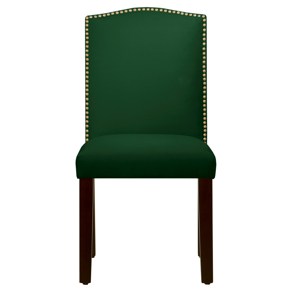 Nail Button Arched Dining Chair - Fauxmo Emerald - Skyline Furniture, Green