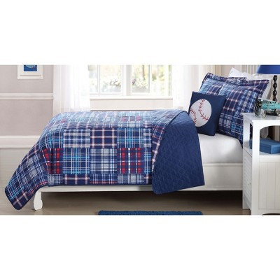 Plaid Patch Quilt Set Navy - My World