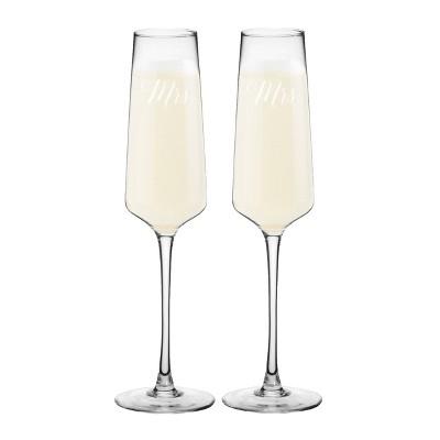 "9.5oz ""Mrs. And Mrs"" Wedding Champagne Estate Glasses"