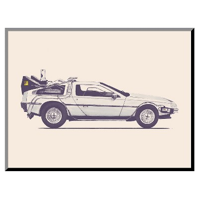 Delorean Back To The Future Mounted Print