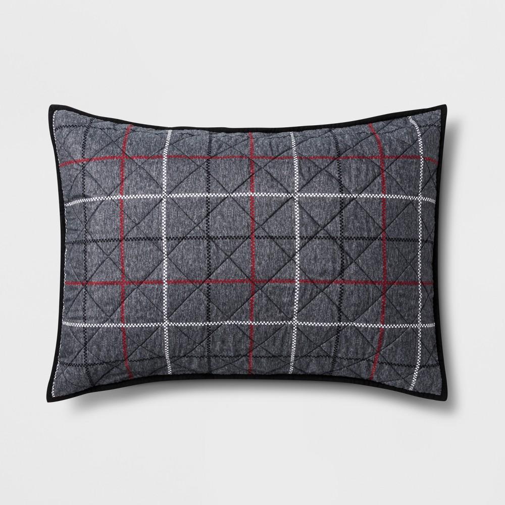 Standard Window Pane Pillow Sham Gray - Pillowfort