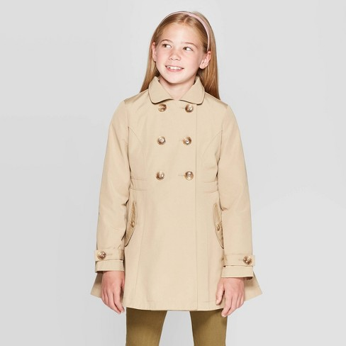 Girls' Trench Coat - Cat & Jack™ Brown - image 1 of 3