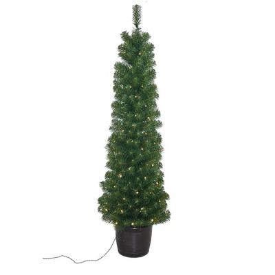 Kurt Adler 5' Pre-Lit Potted Tree with 100-Light Warm White LED Bulbs