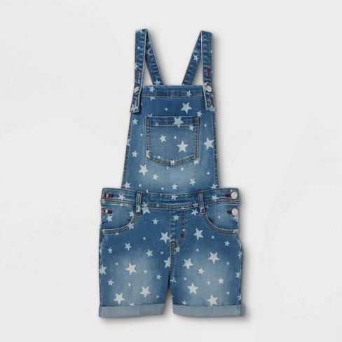 Girls' Star Double Cuff Hem Jean Shorts - Cat & Jack™ Medium Wash - image 1 of 2