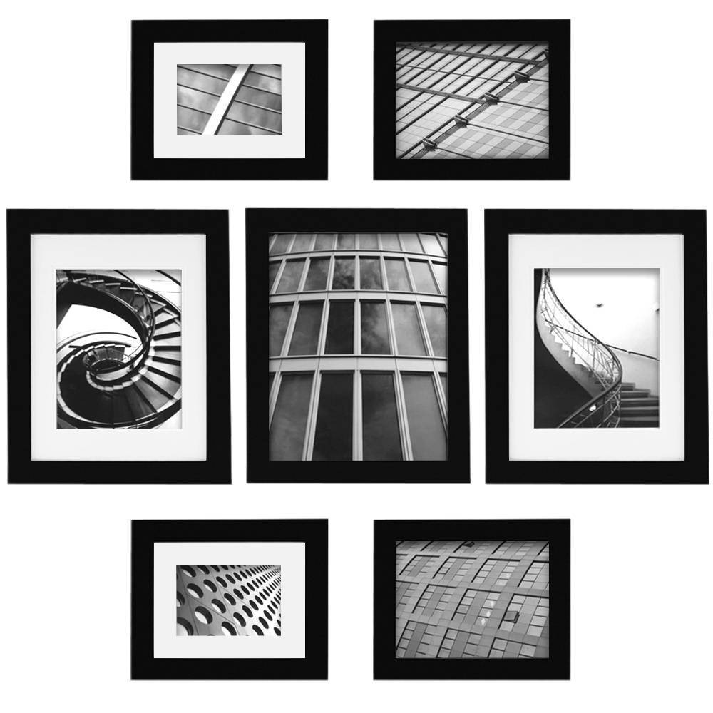 Image of Gallery Perfect 7 Piece Multi-Size Wall Frame Set - Black