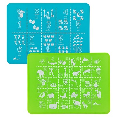 Brinware ABC & 123 Blue/Green Silicone Placemat - Set of 2