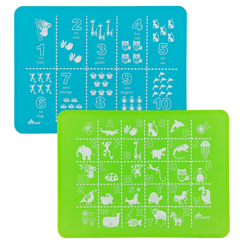 Image of Brinware Abc & 123 Blue/Green Silicone Placemat - Set of 2, Beach Glass Blue