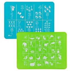 """15"""" x 11"""" 2pk Silicone ABC & 123 Placemats Blue/Green - Brinware"""