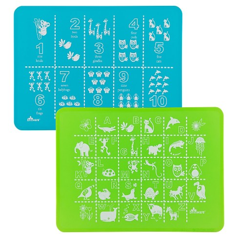 Brinware ABC & 123 Blue/Green Silicone Placemat - Set of 2 - image 1 of 6