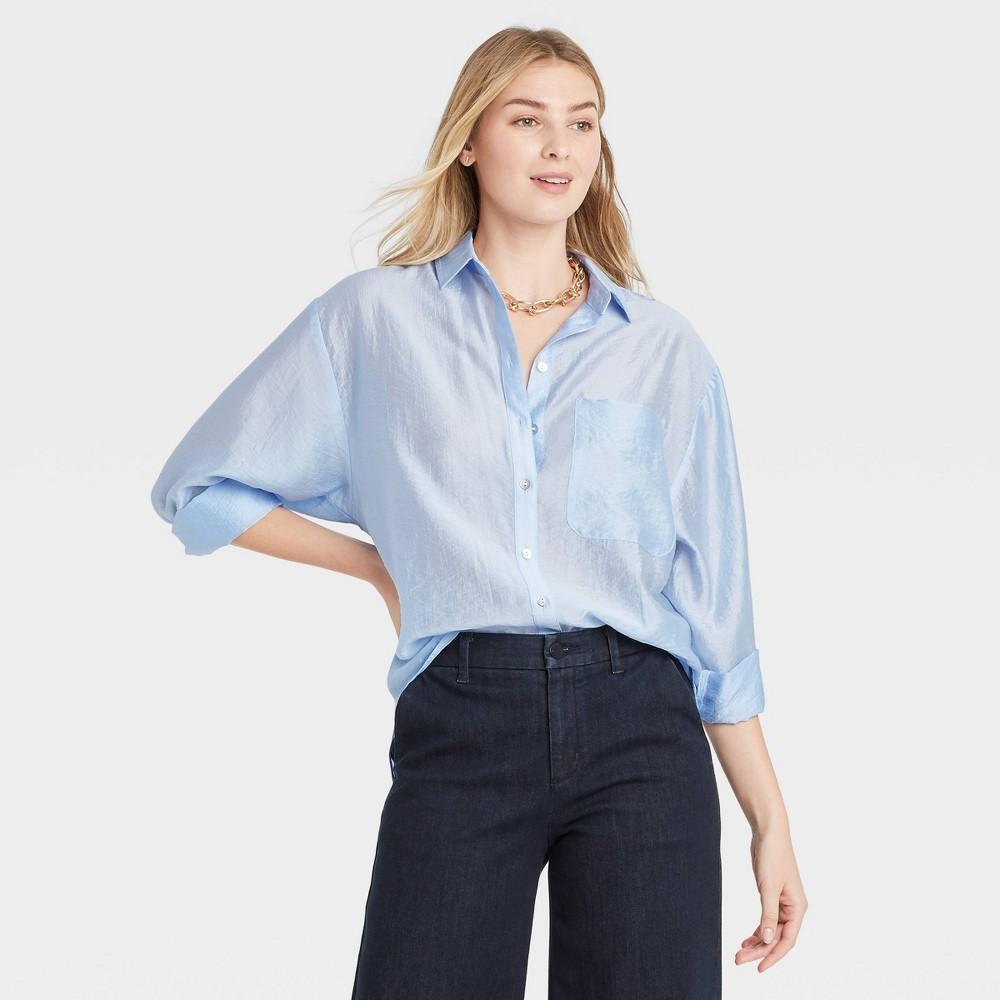 Women 39 S Long Sleeve Button Down Boyfriend Shirt A New Day 8482 Light Blue Xs