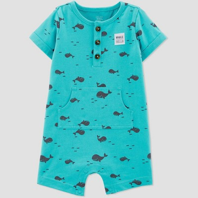 Baby Boys' Whale Print One Piece Romper - Just One You® made by carter's Teal Newborn