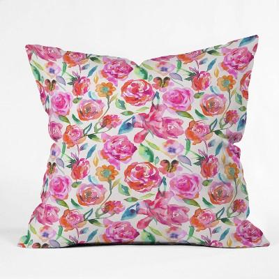 "18""x18"" Square Ninola Design Watercolor Summer Roses Throw Pillow - Deny Designs"