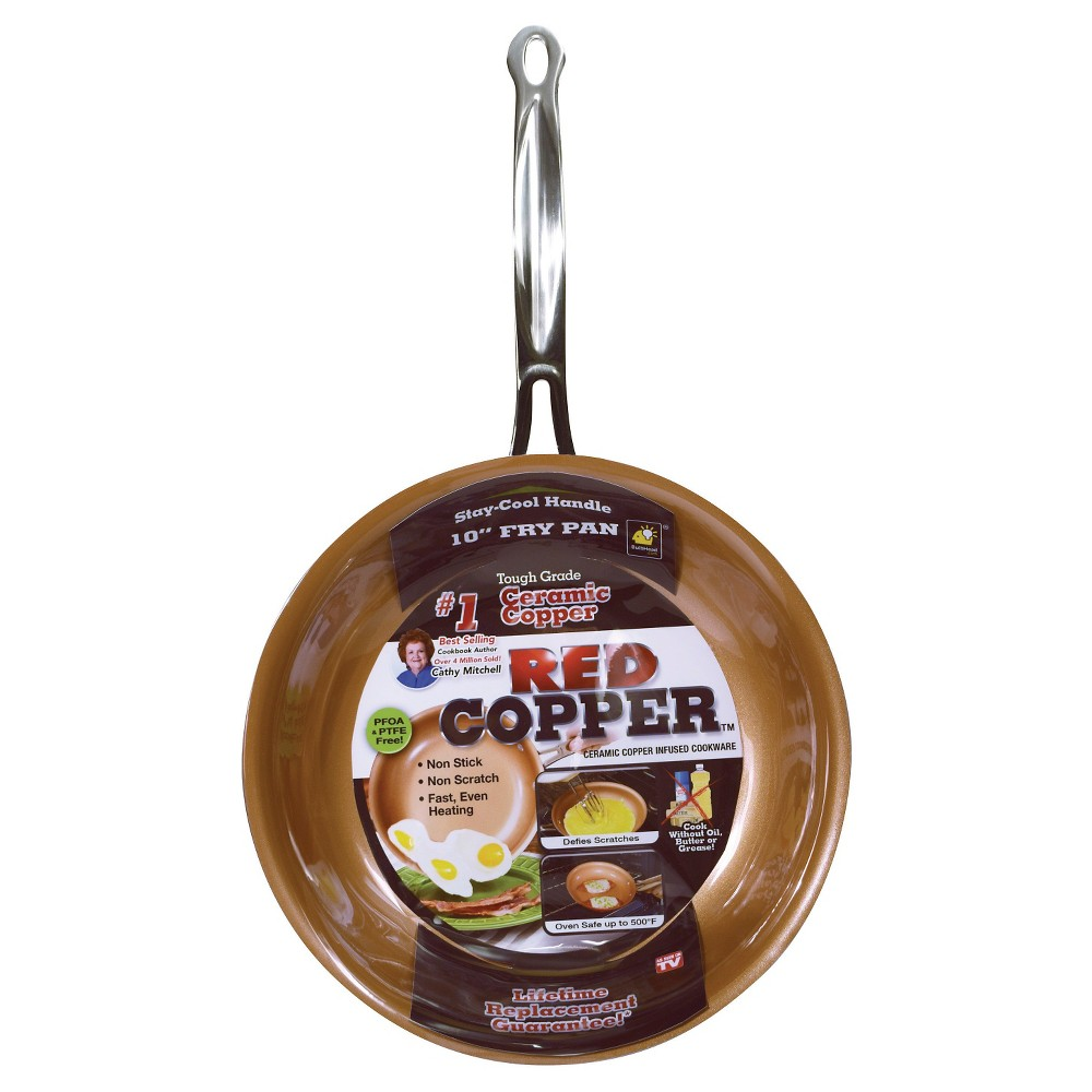 Image of As Seen on TV 10 Frying Pan Red Copper