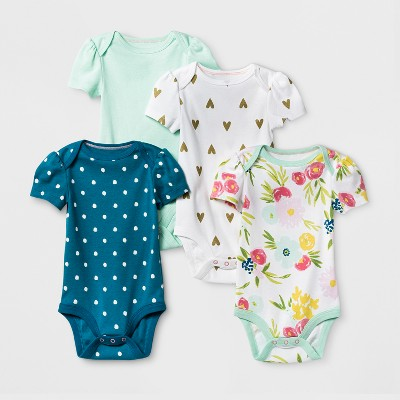Baby Girls' 4pk Short Sleeve Bodysuit Mint/Blue Baby - Cloud Island™