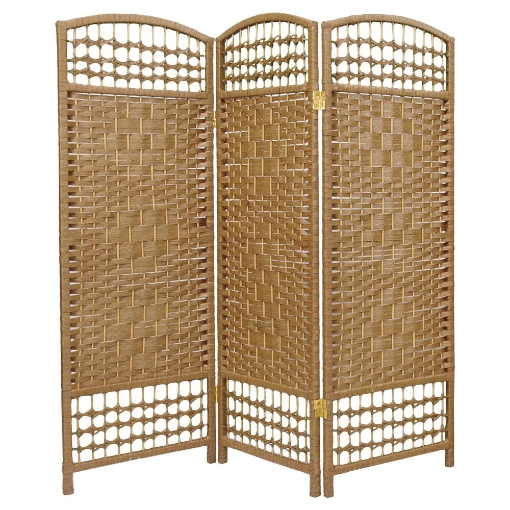 Image of 4 ft. Tall Fiber Weave Room Divider - Natural (3 Panels) - Oriental Furniture, Desert