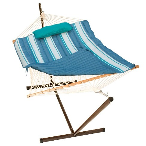 12' Cotton Rope Hammock, Stand, Pad & Pillow Combination Set - Gray/Teal - Algoma - image 1 of 4
