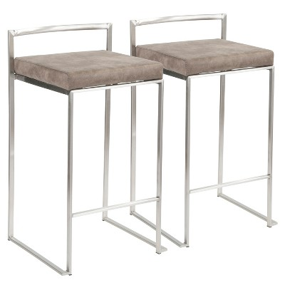"""Set of 2 26"""" Fuji Contemporary Stackable Counter Height Barstool Stainless Steel with Cushion - Lumisource"""