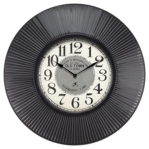 Old Town Standard Round Wall Clock Black - Infinity Instruments® - image 1 of 2