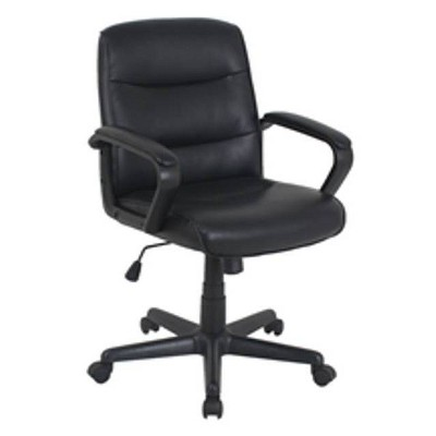 Bonded Leather Mid-Back Manager Chair Black - Global Furniture
