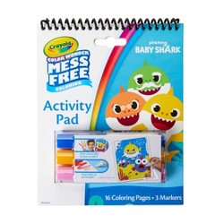 Crayola Baby Shark 16pg Color Wonder Travel Activity Pad (with 3 Color Wonder Markers)